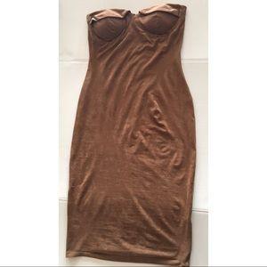 Strapless Suede Dress